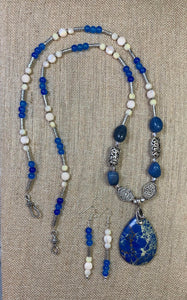 Blue Agate Necklace & Earring Set