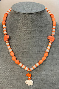 Orange & Creamy White Elephant Necklace