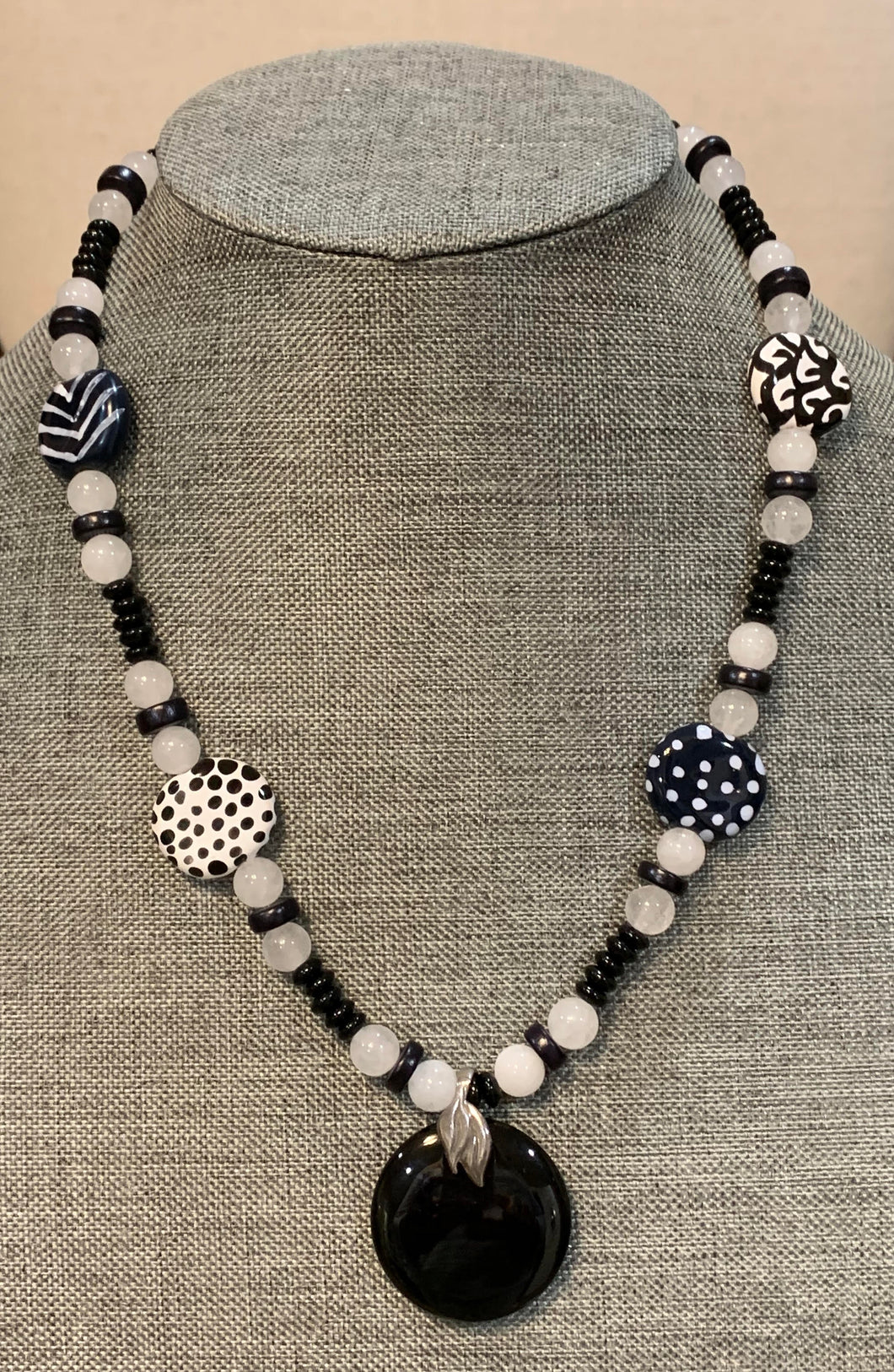 Kazuri & White Jade Necklace