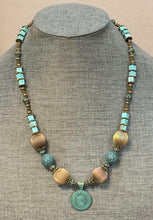 Load image into Gallery viewer, Brass with Aqua Patina Necklace & Matching Earrings