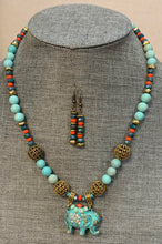 Load image into Gallery viewer, Elephant Necklace/Earring Set (Aqua)