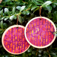 Pink, Purple, and Gold Ankara Earrings