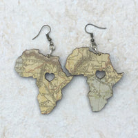 Wooden Africa-shaped map earrings