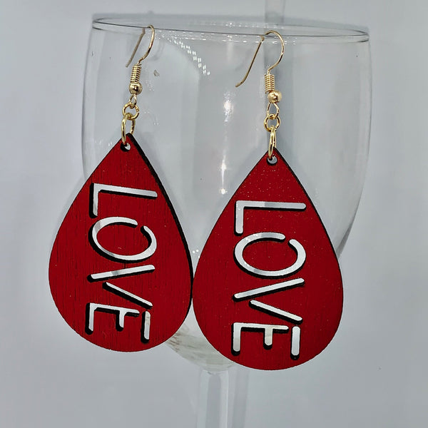 Teardrop-shaped Word Earrings - Love