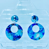 Blue Acrylic Stud Hoop Earrings