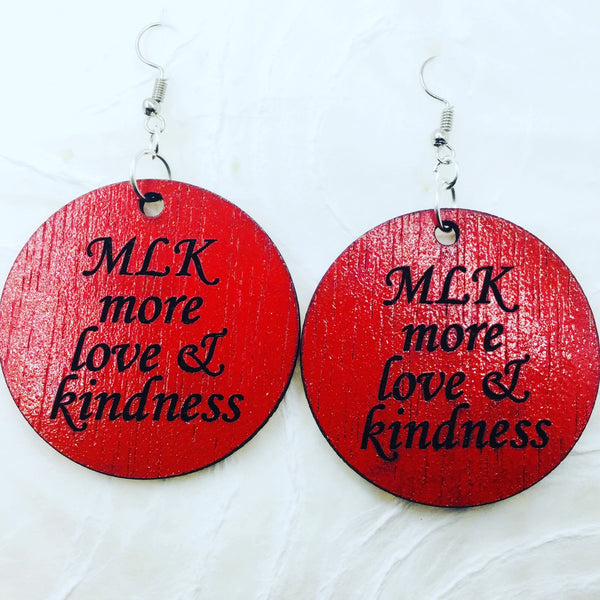 Power of Words: Red Round MLK love and peace earrings