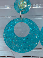 Turquoise Glitter Hoop Acrylic Earrings