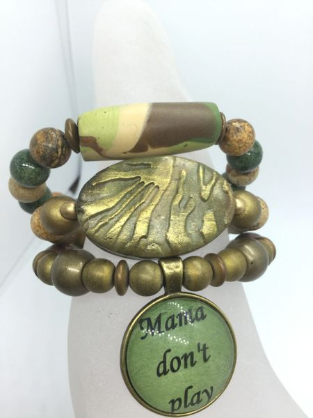 "Power of Words: Camouflage Bracelet Stack with ""Mama Don't Play"" Charm"