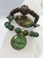 "Power of Words: Camouflage Bracelet Stack with ""No Weapon"" Charm"