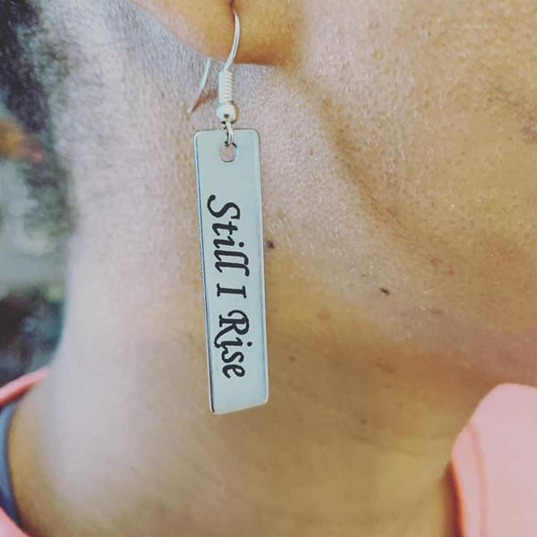 "Power of Words: ""Still I Rise"" Stainless steel word earrings"