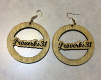 Power of Words: Wooden Proverbs 31 Engraved Earrings