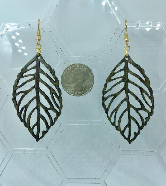Wooden leaf-shaped earrings