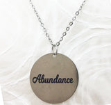 Power of Words:  Customizable Round Engraved Goldtone Stainless Steel Necklace