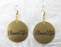 Power of Words: Round Stainless Engraved Earrings