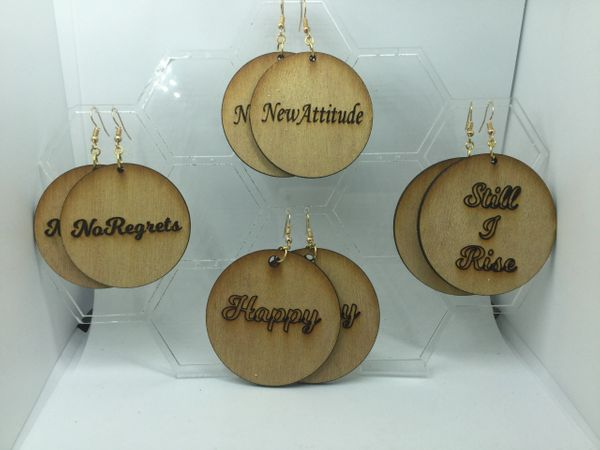 Power of Words: Round wooden engraved earrings