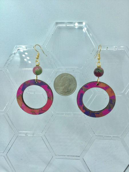 Wooden circle hoop earrings