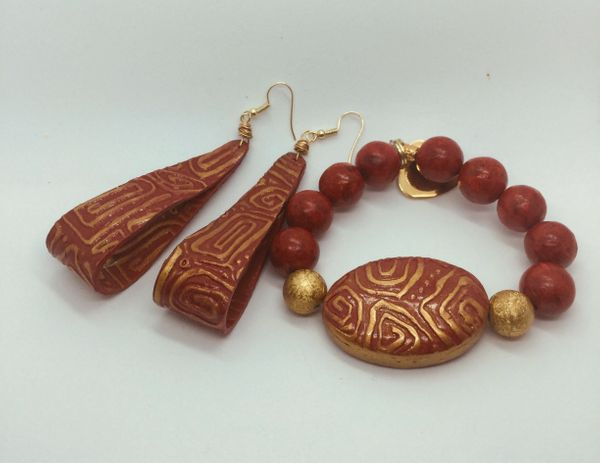 Red Contemporary Tribal Bracelet and Earring Set