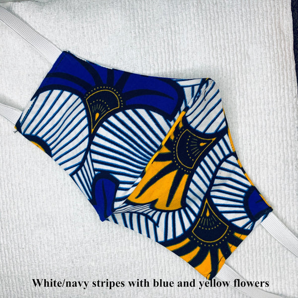 Face Mask-African print face mask-White/navy strips with navy and yellow flowers