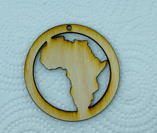 Wood earring blank laser cut shapes-Africa Circle