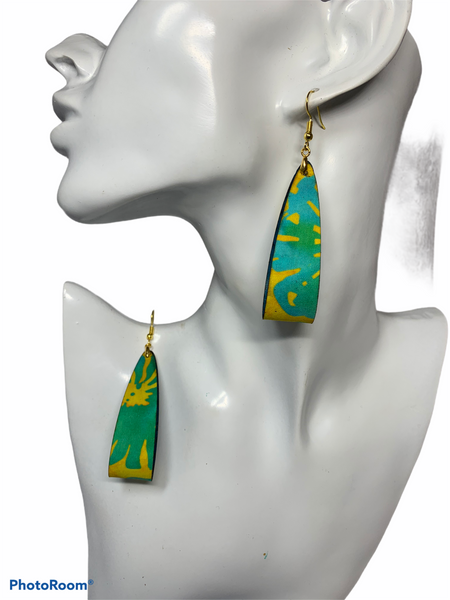 Teardrop hoop earrings-Yellow & Teal