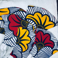 Face Mask-African print face mask-White/navy stripes with burgundy and yellow flowers