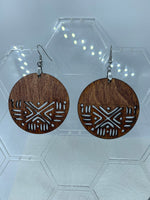 Wood cut Mudcloth Earrings-half design