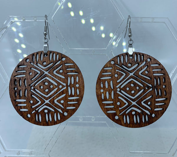 SVG Digital File-Mudcloth Earring Design for Wood or Leather