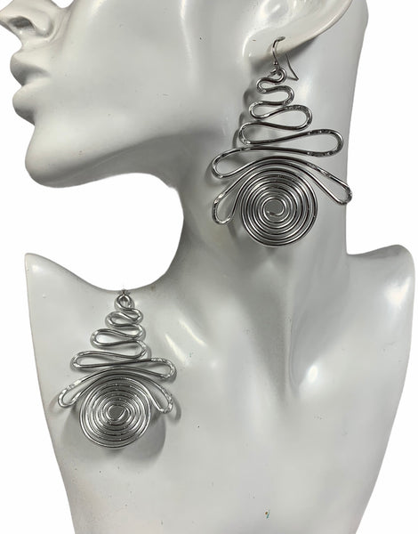 Silvertone Aluminum Wire Earrings