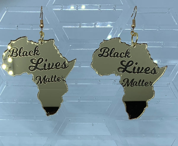Gold Mirror Africa Black Lives Matter Earrings