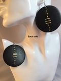 African Mudcloth-inspired Hand-painted Wooden Earrings