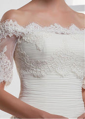 Pretty Tulle Off-the-shoulder Short Sleeve Bridal Jacket / Wedding Wrap With Lace Appliques - The Wedding LookBook