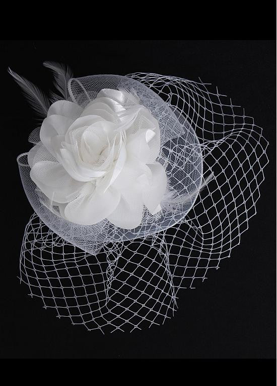 Gorgeous Netting With Feather & Flower White Bridal Fascinators - The Wedding LookBook