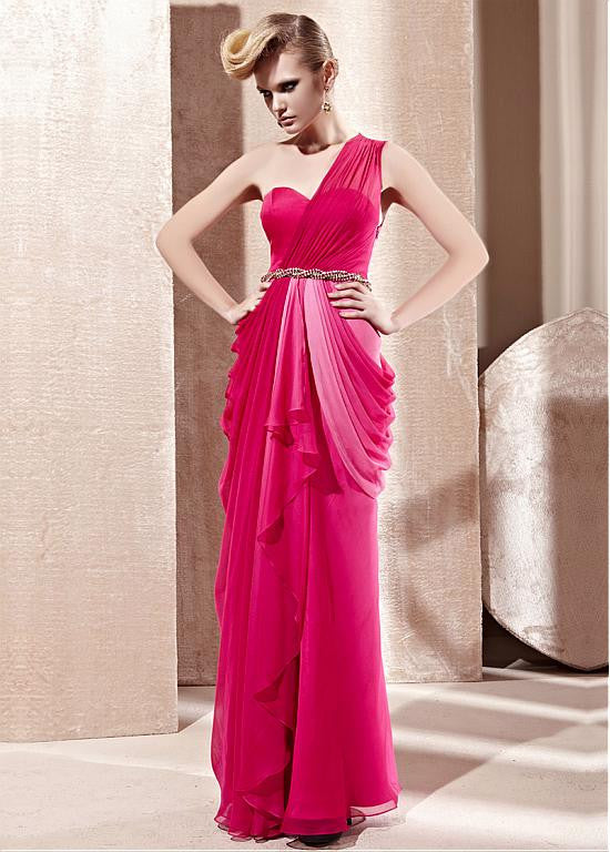In Stock Incredible Sheath One Shoulder Neckline Natural Waist Long Draped Gradient Party Dress - The Wedding LookBook