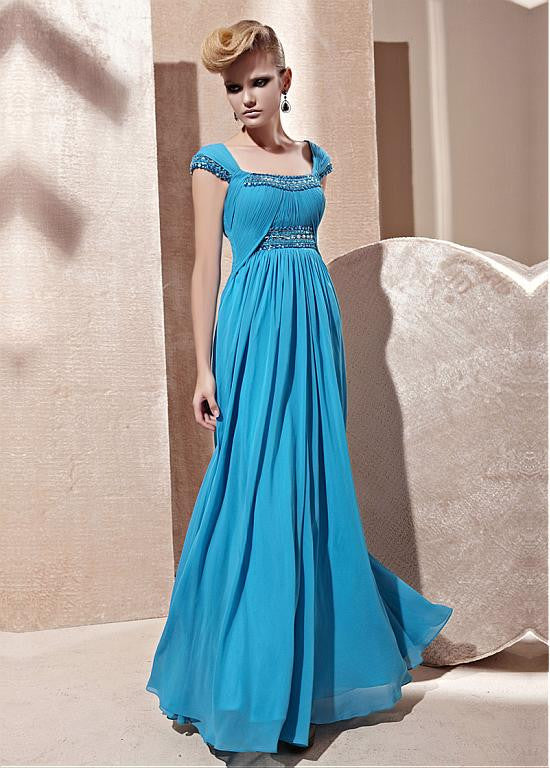 In Stock Fashion-forward A-line Square Neckline Floor Length Beaded Ruched Evening Dress With Cap Sleeves - The Wedding LookBook