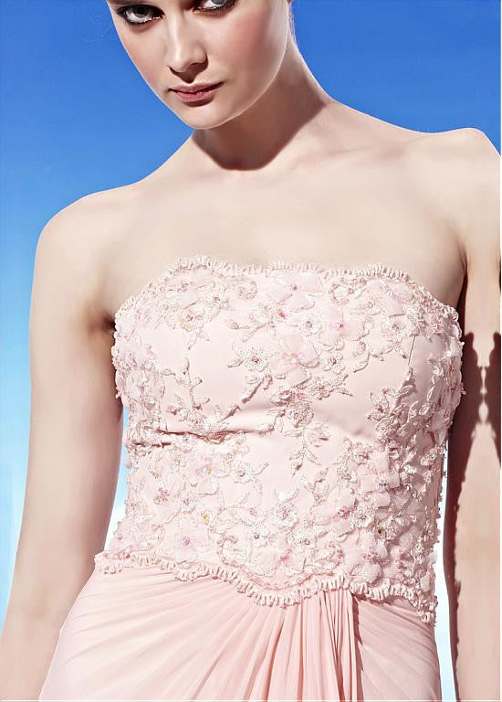 In Stock Glamorous A-line Strapless Natural Waist Beading Embroidery Long Evening Dress - The Wedding LookBook