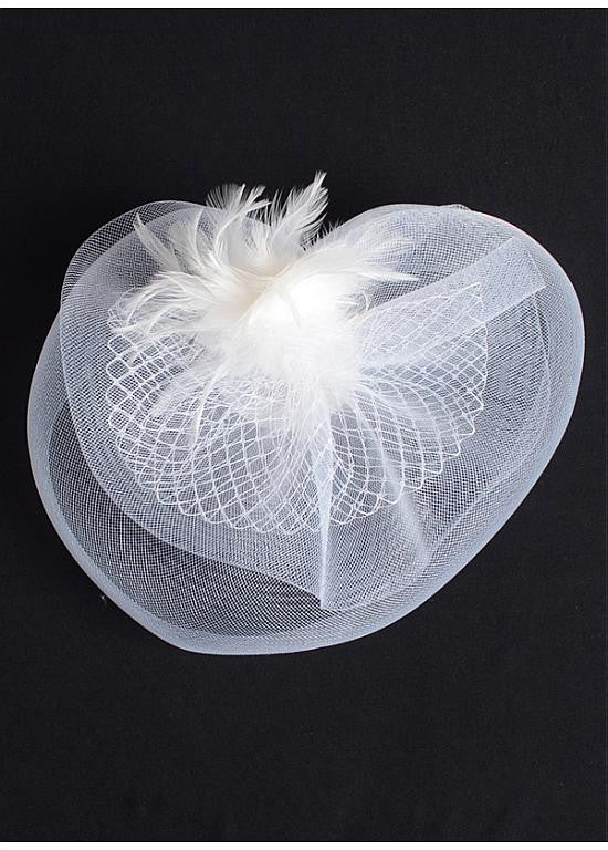 Gorgeous Netting With Feather & Tulle White Bridal Fascinators - The Wedding LookBook