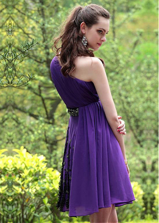 In Stock Elegant A-line One Shoulder Purple Short Prom Dress - The Wedding LookBook