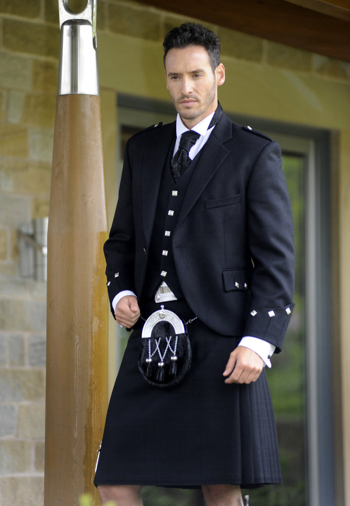 Men's Suit- Kilt style set in black for Hire