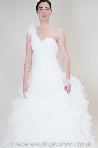 Amazing Matte Satin & Organza Mermaid with a One Shoulder sleeve with Lace Detailing wedding dress