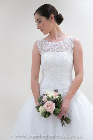 Stunning Chiffon & Organza A-line with a High lace neckline and Stunning Lace Detailing Wedding Dress