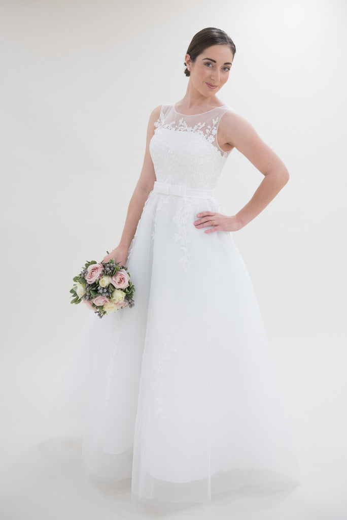 Stunning Tulle & Satin A-line with High Neckline and Beautiful Lace Detailed Wedding Dress - The Wedding LookBook