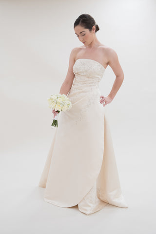Surrey Wedding Shop Satin A-Line With Strapless Neckline and beading Wedding Dress