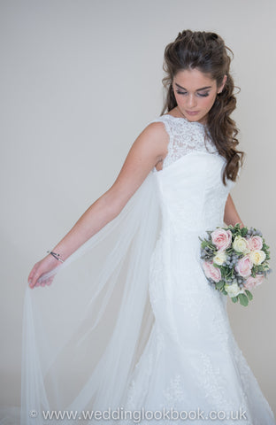 Surrey Wedding Shop Beautiful Mermaid Wedding Dress with a High Nick and Stunning Detailing - The Wedding LookBook