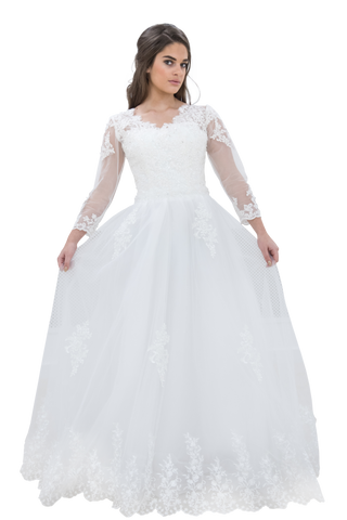 Beautiful Lace Detailed Dress with Beautiful 3/4 length sleeves and V-Neck  Wedding Dress - The Wedding LookBook