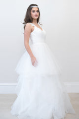 Surrey Wedding Shop chiffon & Satin Sheath Natural Waist Beaded wedding dress side view