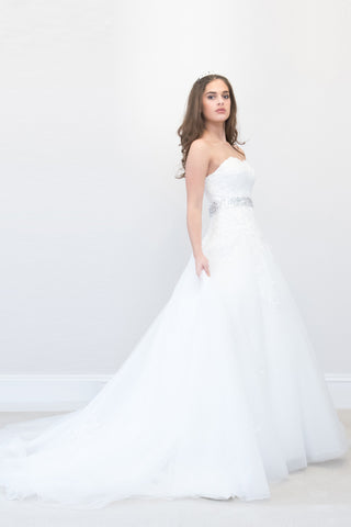 Amazing A-line Wedding Dress with a Belt Below the Bust and beautiful beading