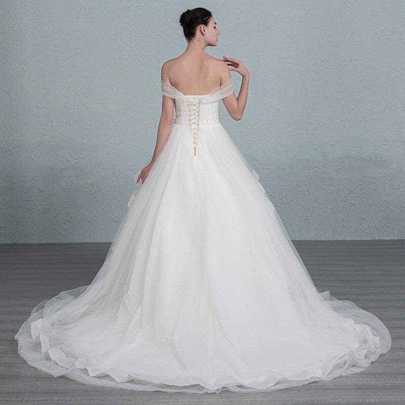 Surrey Wedding Shop Tulle & Satin Ball Gown Wedding Dress back view