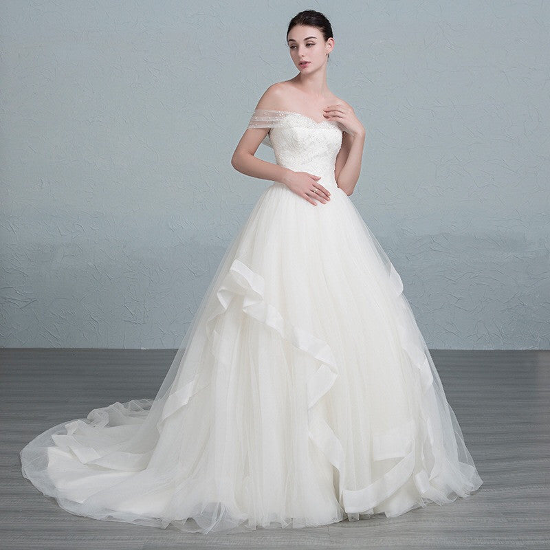 Surrey Wedding Shop Tulle & Satin Ball Gown Wedding Dress side view