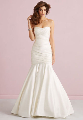 Amazing Mermaid Style Silk Wedding Dress with Ribbed Bodice