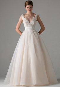 Amazing Tulle & Satin A-line V-neck Neckline Wedding Dress - The Wedding LookBook